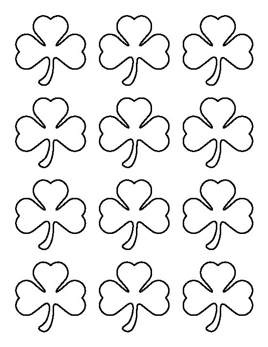 Small shamrock pattern. Use the printable outline for crafts, creating stencils, scrapbooking, and more. Free PDF template to download and print at http://patternuniverse.com/download/small-shamrock-pattern/
