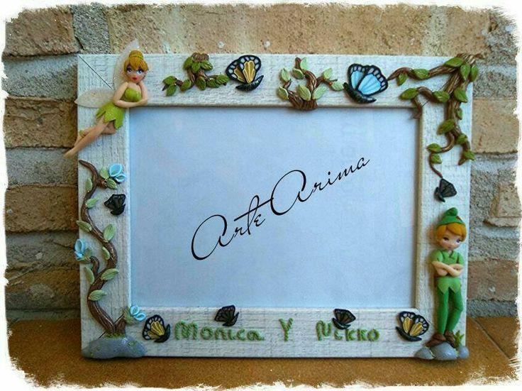 Marco Peter Pan y Campanilla, Marco decorado, Marco Fimo, marco petar pan, marco campanilla, disney