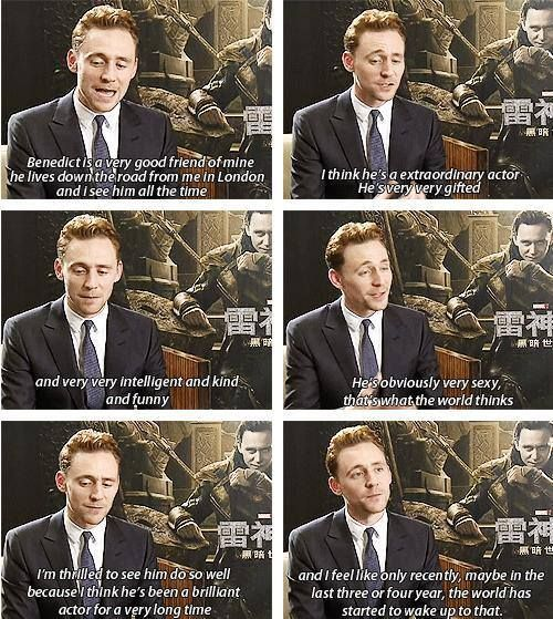 Tom Hiddleston talks about Benedict Cumberbatch.