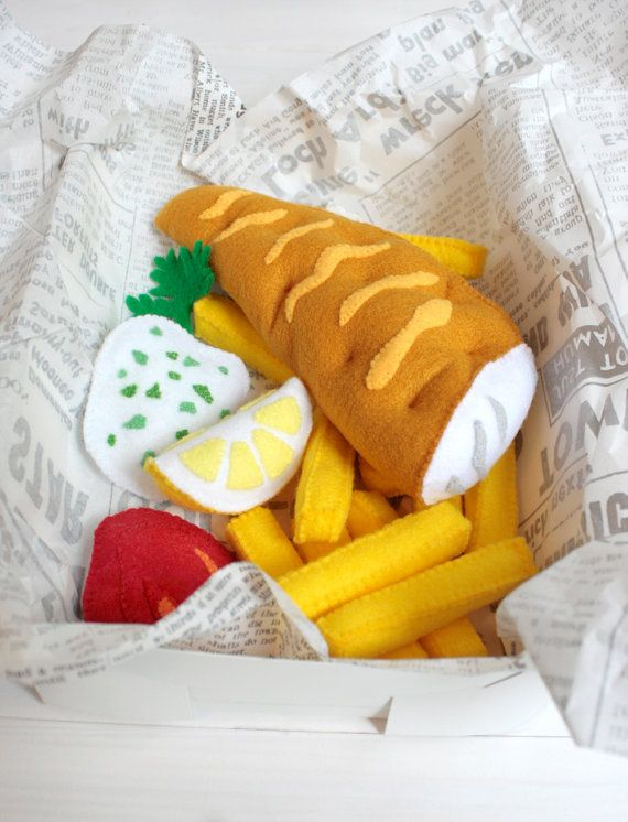 Fish and Chips Felt Play Food Set, Plush Toys for Pretend Play, Perfect for Play…