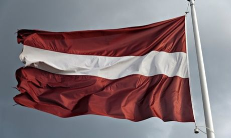 Latvia  flag flying