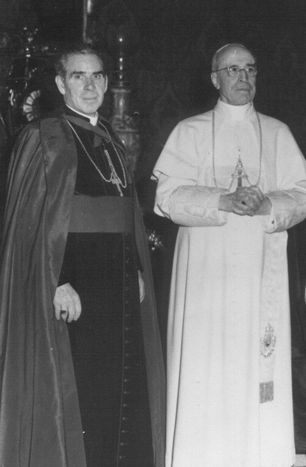Bishop Fulton J. Sheen with Pope Pius XII.