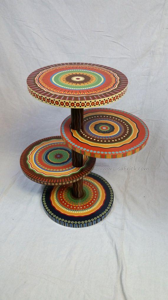 Mandala lado tabla tierra tonos cuatro estantes personalizados pintado a pedido