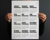 Calendario 2016 stampabile design contemporaneo minimalista in bianco e nero moderno parete casa e ufficio regalo di Natale decoro ufficio