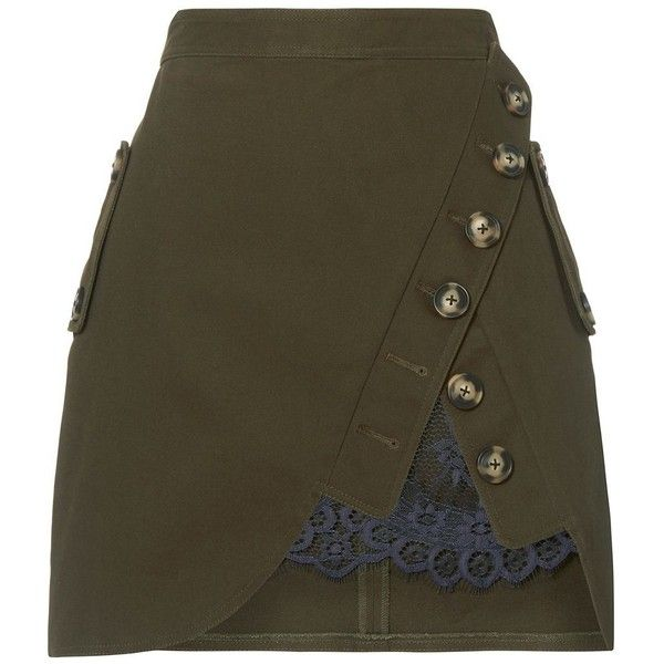 Self-Portrait Women's Olive Utility Mini Skirt ($375) ❤ liked on Polyvore featuring skirts, mini skirts, dark green, short mini skirts, army green skirt, short skirts, short brown skirt and cotton skirts