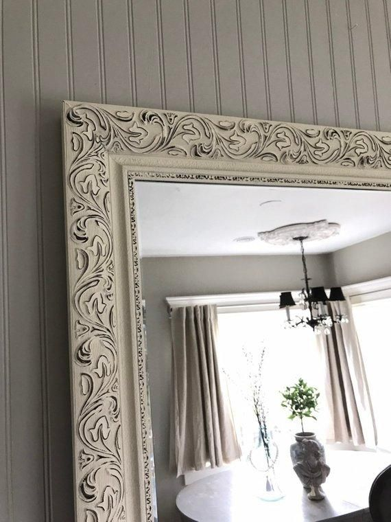 Off White And Black Distressed Mirror Distressed Mirror Vintage Style Mirror Mirror