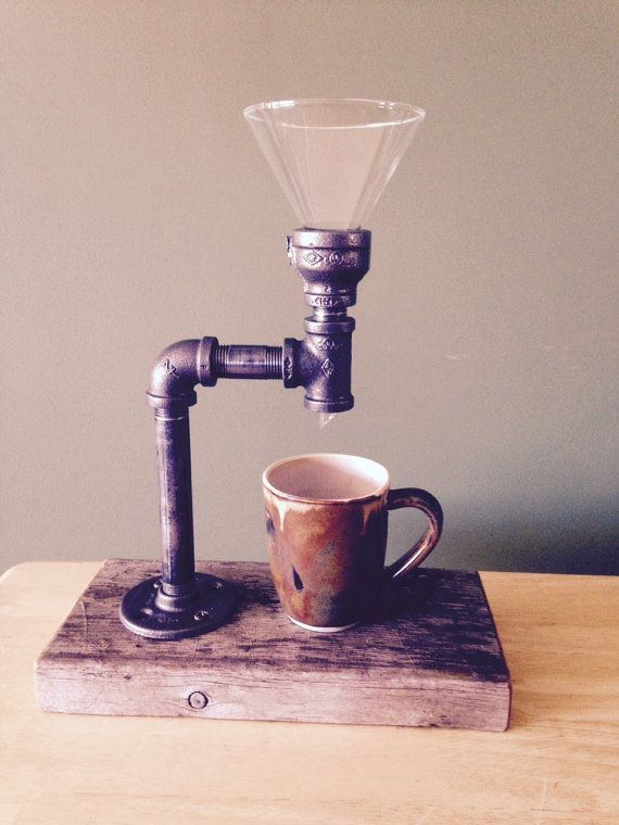 http://www.kitchenstyleideas.com/category/Coffee-Maker/ Pour Over Coffee Maker Industrial Pipe by PipesandPlanks on Etsy
