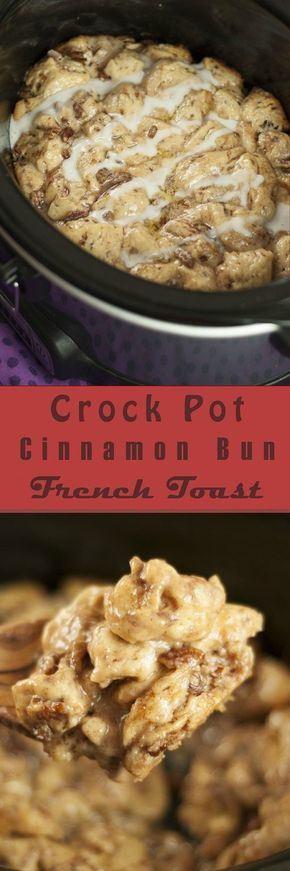 Easy Crock Pot Cinnamon Bun French Toast has all the flavors of gourmet cinnamon rolls without all of the hard work! This is perfect slow cooker recipe for the busy holiday mornings!