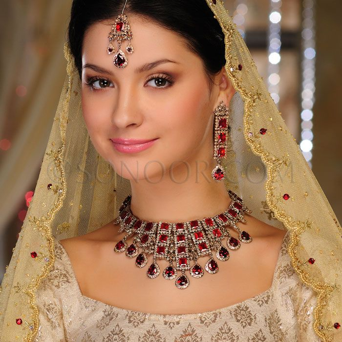 BRI/1/2556 Jilpa Bridal Set includes Necklace, Earrings, and Maang Tika in silver victorian finish studded with garnet and citrine czee stones $548 £323