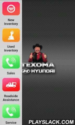 Texoma Hyundai Dealer App  Android App - playslack.com ,  Shop for your next vehicle in the palm of your hand. Our app allows you to view our complete model line through beautiful images and videos.This app provides instant access to inventory, the latest incentives, rebates, and a full multimedia brochure. This app uses push notifications to schedule service appointments, access specials, coupons, dealer contact info, and more…Search real-time inventory, pricing, and options.App features…