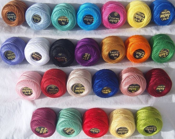 25 ANCHOR Pearl Cotton Balls. Size 8  (85 Meters each)