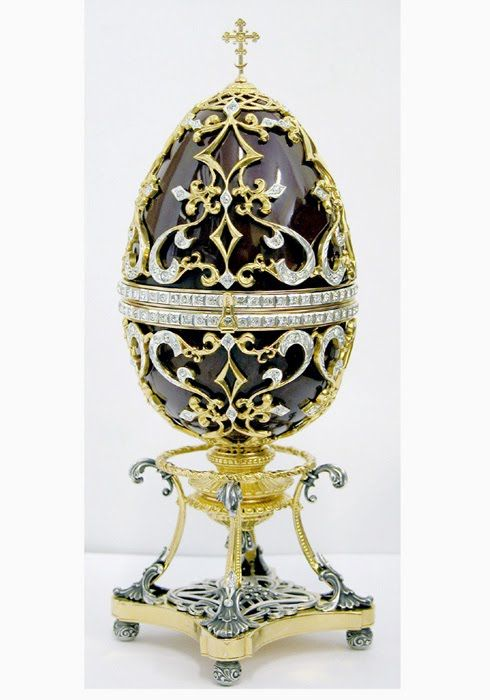 Real Faberge Eggs | Carl Faberge Eggs, using high gloss black with stamping (see vintagejewelrysupplies.com to create)