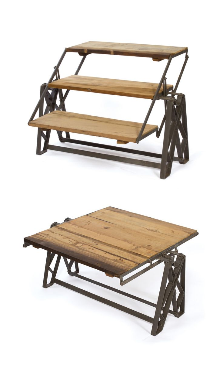 This unusual reclaimed wood and iron piece swivels in place for use as a chic, rustic coffee table, or a standing or leaning bookshelf. The perfect choice for an on-the-fly cocktail party that quickly shifts out of the way, this unique furnishing is an interesting addition to your living room or loft. How will you use it?
