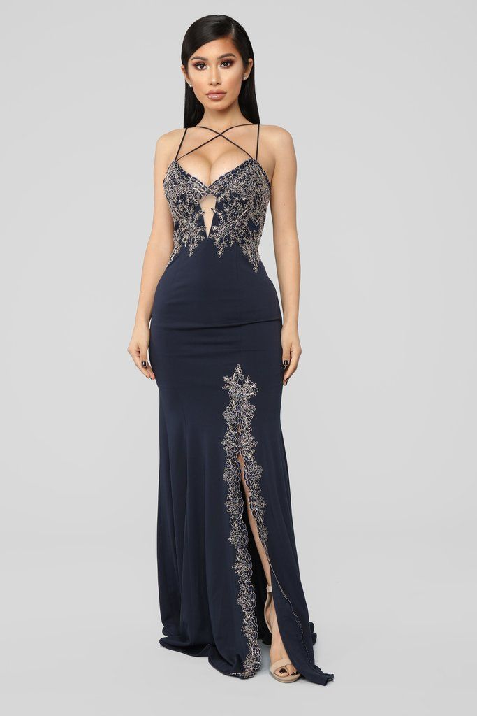 Issa Celebration Embroidered Gown Navy Dress Clothes For Women Beautiful Dresses Fancy Dresses
