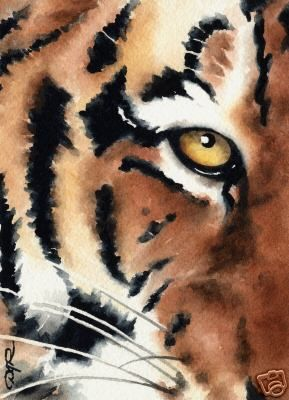 This watercolor painting of a tiger has definitely captured the intelligence, the stealth, the beauty of this animal.