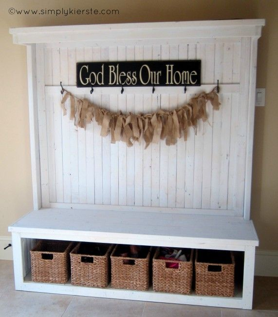 Every entry needs something to help it stay organized.  Like this cute as anything organizing bench/cubby.  All homemade, too!