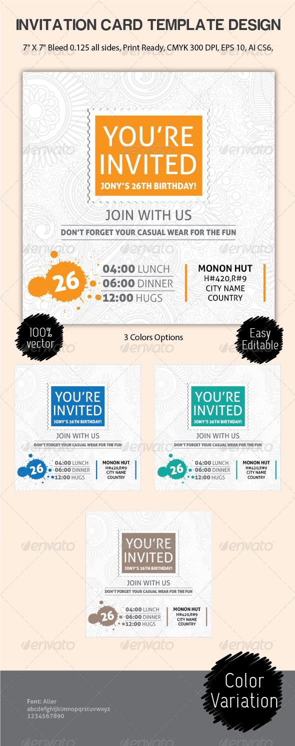 Best Invites Images On Pinterest Print Templates Invitation - Birthday invitation card eps