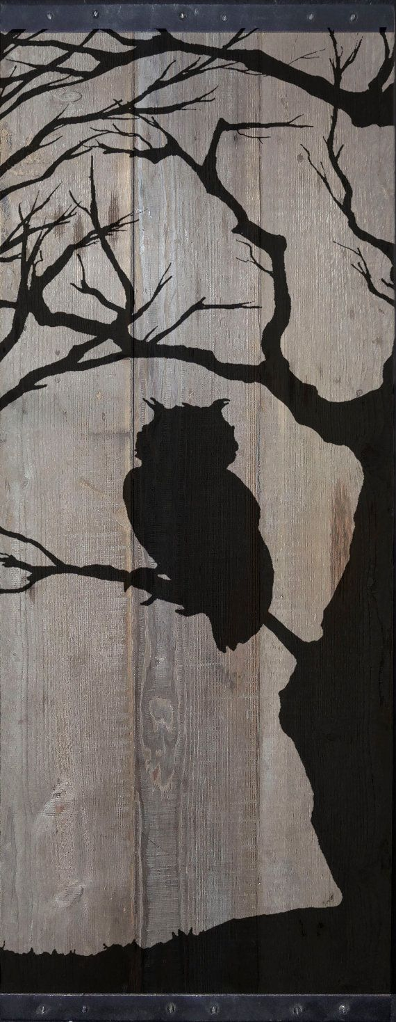 MADE TO ORDER**       Barnwood painting with silhouette of an owl perched in a bare tree. This piece measures 41 x 18 x 1. The top and bottom have