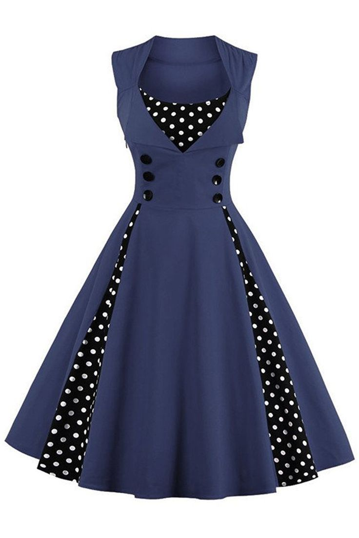 The Atomic Blue and Black Polka Dot Rockabilly Party Dress Features a beautiful blue sleeveless bodice with black and white polka dot insets in front and on both sides, a sweetheart bust with matching black and white polka dot inset, large black front accent buttons, an A-line construction with hidden side zipper closure.  https://atomicjaneclothing.com/products/atomic-blue-and-black-polka-dot-sleeveless-rockabilly-party-dress