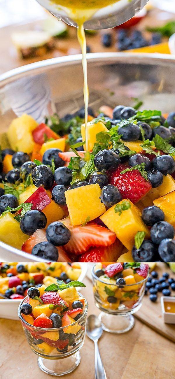 1 medium-size package Blueberries, fresh. 1 tsp Lime, zest. 1 Mango. 1 tbsp Mint, fresh leaves. 1 Nectarine. 1 tsp Orange, zest. 1 Peach. 1 Pineapple, small fresh. 1/2 lb Strawberries. 1 Citrus-honey dressing. 2 tbsp Honey. 1/2 tbsp Lime juice, fresh. 2 tbsp Orange juice, fresh squeezed.