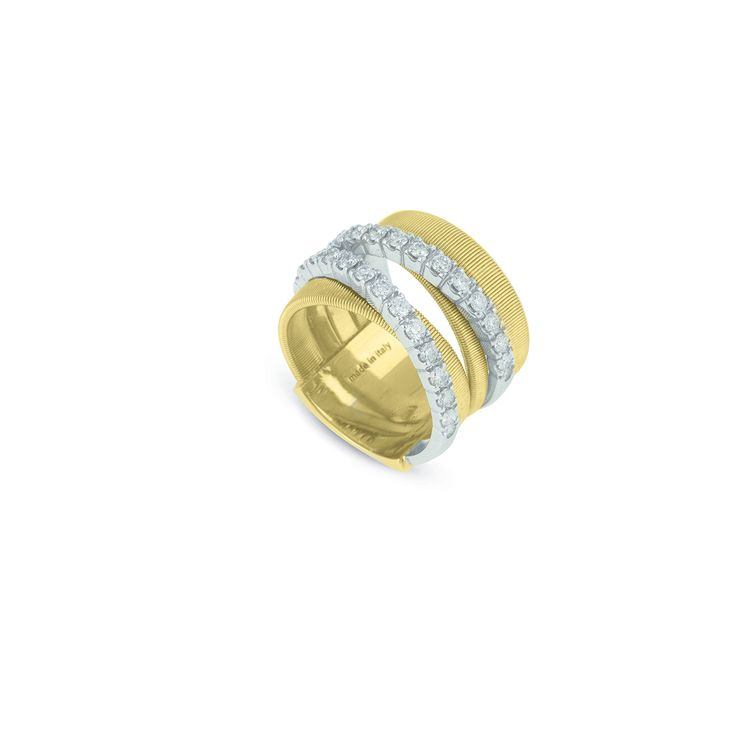 Masai Five Row Crossover Ring with Diamonds In Yellow Gold