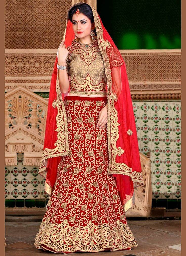 Browse our collection of lehenga choli online and grab it at the best price. Shop now! This magnetic velvet embroidered, patch border, resham and zari work lehenga choli.