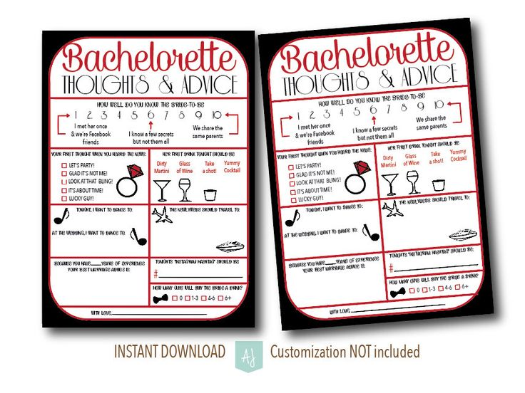 Bachelorette thoughts and advice for the bride to be! Just download and print instantly. Lots of colors to choose from: https://www.etsy.com/listing/243052781/bachelorette-party-game-bridal-shower
