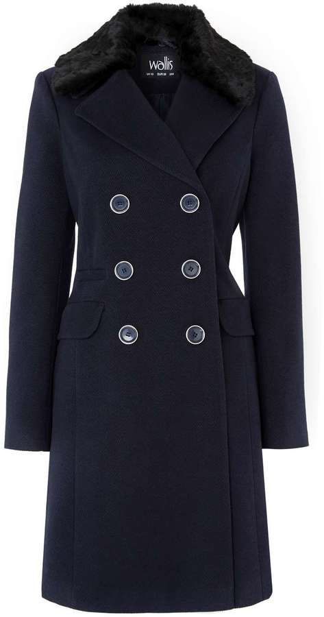 Navy Fur Collar Coat