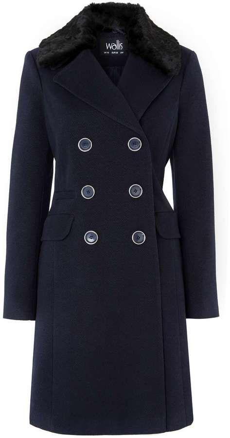 Navy Fur Collar Coat