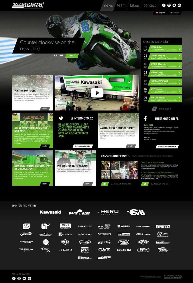 www.intermototeam.com – New website for WSBK SSP team Kawasaki Intermoto Ponyexpres. Hub of social networks and news. #intermoto #ponyexpres #wsbk #supersport #webdesign #socialnetworks #hub