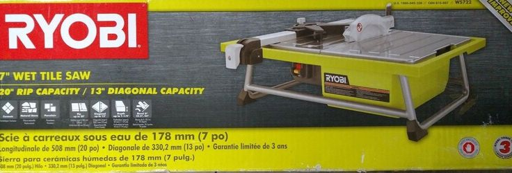 Tile Saws 122836: New Ryobi 7 Wet Tile Saw Model# Ws722 -> BUY IT NOW ONLY: $114.99 on eBay!