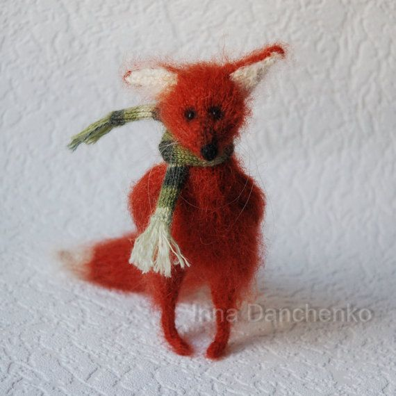 Knitted Red Fox Soft Toy - ready to ship