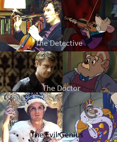 Great Mouse Detective and Sherlock. I was glad to see this. Everyone is very into Sherlock at the moment, and it's important not to forget this gem of a movie. Crowns, evidently, are popular among criminal masterminds.