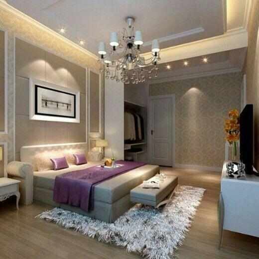 Bedroom, Elegant Purple Blanket Paired With Bedroom Chandelier Also Brown  Wall Tile Color Background ~ Modern Lamp Idea For Stunning Bedroom  Impression