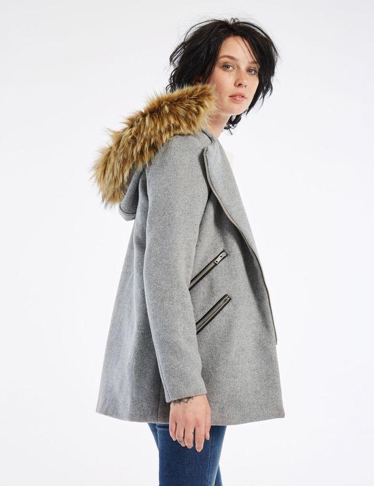 Manteau à capuche gris chiné femme • Jennyfer