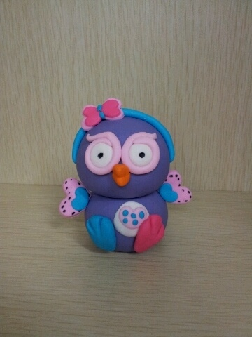 3D HOOTABELLE EDIBLE CAKE TOPPER DECORATION giggle  hoot PURPLE PINK OWL