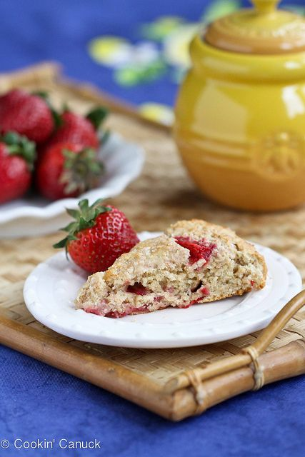 Strawberries & Cream Scone Recipe for Mothers Day {Healthy} | cookincanuck.com #recipe by CookinCanuck