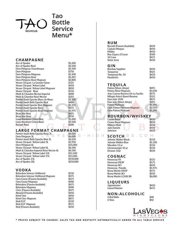 Tao bottle service menu at Tao Nightclub