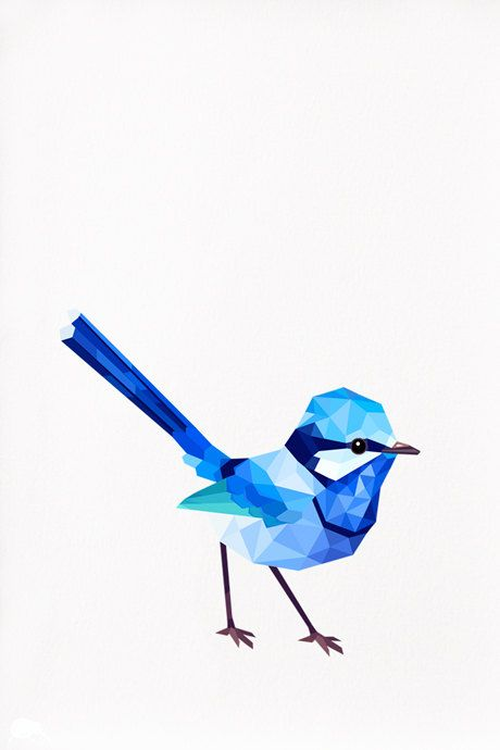 Hehe... what a cutie! Blue Wren Male Geometric illustration bird print by tinykiwiprints