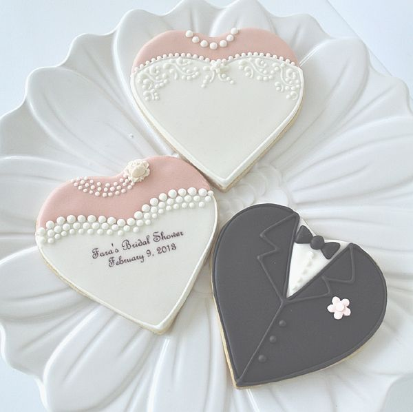 Heart Shaped Bride & Groom Cookies