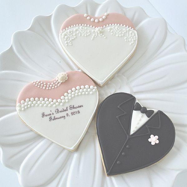 heart shaped bride cookie, heart shaped groom cookie