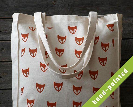 fox market bag/ fox shopping bag/ fox tote bag/ fox head/ fox