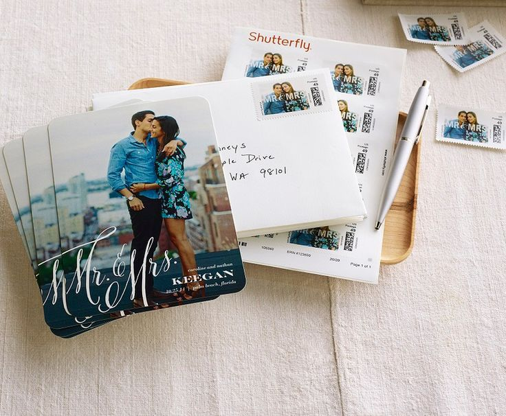 Personalize mailing stamps to match your wedding announcements. Cheers to the happy couple. | Shutterfly