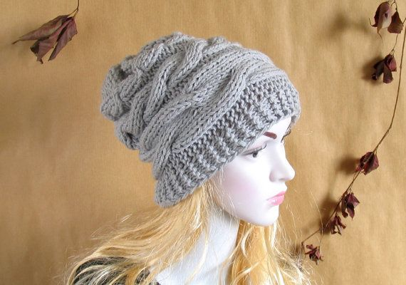 Handmade Knit Cable Hat Beanie Slouchy Hat Beanie Large for Men _Women GRAY Baggy cabled Slouchy hat Warm hat