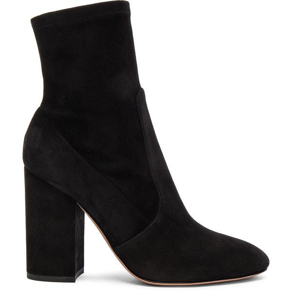 Valentino Suede Booties (£776) ❤ liked on Polyvore featuring shoes, boots, ankle booties, ankle boots, suede bootie, leather sole boots, suede booties and short boots