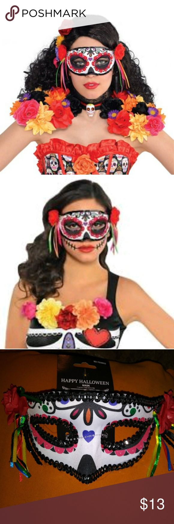Day of The Dead Sugar Skull Mask Sugar Skull Mask Adult Day of The Dead Dia de Los Muertos Halloween Costume accessory  The Day of the Dead masquerade mask includes a sugar skull design mask with fabric roses and hanging ribbons at the sides.  Our Dia de Los Muertos costume mask comes in one size to fit most adult women and teen girls. Accessories