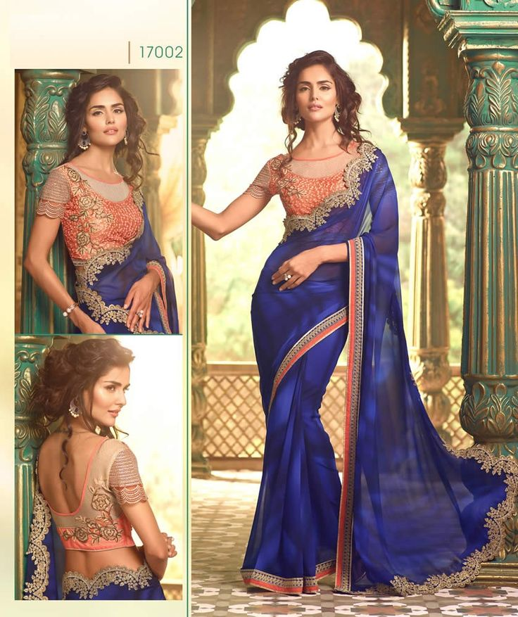 buy saree online Navy Blue Colour Georgette Party Wear Saree And Heavy Blouse Work Buy Saree online - Buy Sarees online