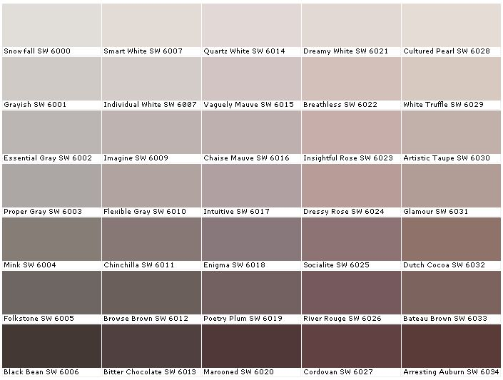 Sherwin Williams SW6000 Snowfall SW6001 Grayish SW6002 Essential