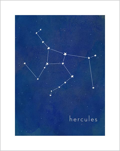 Art print for baby and kid's rooms from Hello Happy Design www.hellohappydesign.com. Hercules constellation; stars