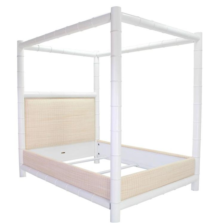white lacquer faux bamboo canopy bed frame by ralph lauren queen - Bamboo Canopy 2015